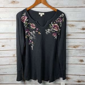 Style & Co Embroidered Thermal Antique Wash Top